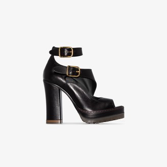 Chloé Black 150 Platform Buckled Leather Sandals