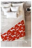 "Deny Designs Red Animal Natt Christmas Deer Sherpa Throw Blanket (50""X60"