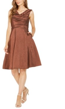 Adrianna Papell Metallic Cowlneck Dress