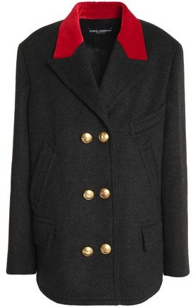 Dolce & Gabbana Double-Breasted Velvet-Trimmed Wool And Cotton-Blend Jacket