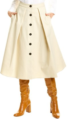 Donna Karan Pleated Button Front Skirt
