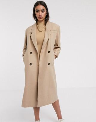 Asos Design DESIGN double breasted longline coat in camel-Beige
