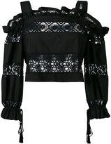 Alberta Ferretti flora cut-out details blouse - women - Cotton/Spandex/Elastane - 40
