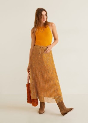 MANGO Printed pleated skirt caramel - XXS - Women