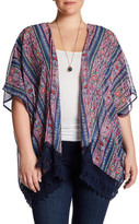 Angie Short Sleeve Lace Trim Kimono (Plus Size)