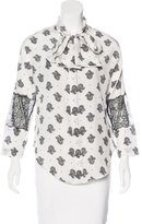 Sandro Silk Printed Blouse