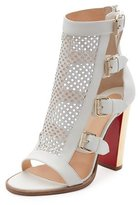 Christian Louboutin Fencing Perforated 100mm Red Sole Sandal, Latte