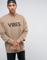 Asos Oversized Longline Sweatshirt With Double Sleeve & Print