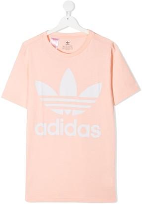 Adidas Originals Kids TEEN Trefoil-print cotton T-shirt