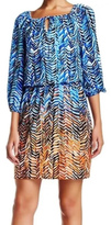 London Times T1457M Quarter Sleeve Print Blouson Dress