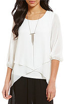 I.N. Studio Solid Pucker Gauze Chiffon Split Hem Top