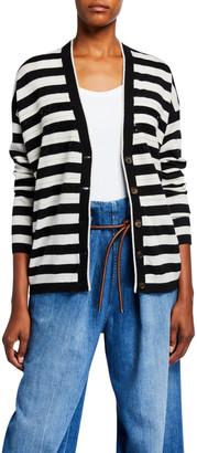 Brunello Cucinelli Two-Ply Cashmere Striped Cardigan