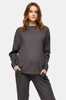 Topshop Womens **Maternity Charcoal Grey Loungewear Waffle Top - Charcoal