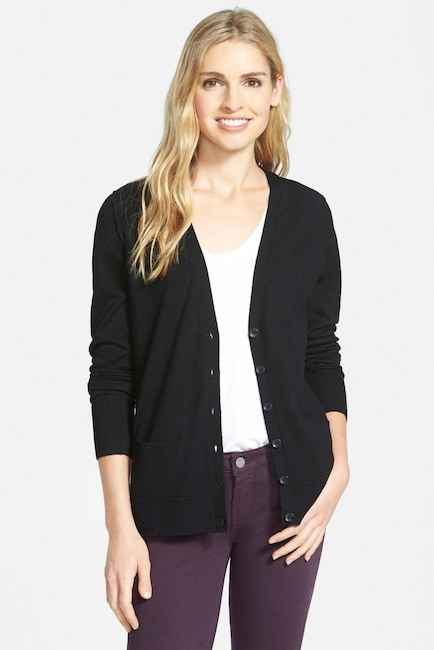 Halogen Lightweight Merino Wool V-Neck Cardigan