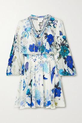Camilla Embellished Shirred Printed Silk Crepe De Chine Mini Dress - Blue
