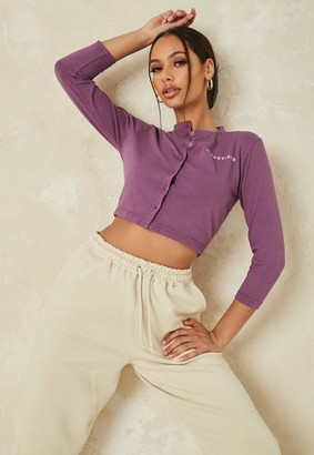 Missguided Wine Button Front Crop Top