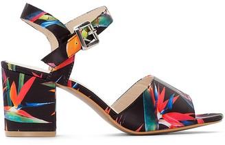 Castaluna Plus Size Wide Fit High Heel Floral Print Sandals