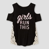 "Miss Chievous Girls' Short Sleeve Cold Shoulder ""Girls Run This"" Top with Natural Crochet - Black"