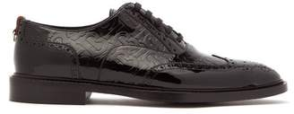 Burberry Embossed Tb Monogram Patent Leather Brogues - Mens - Black