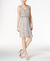 Adrianna Papell Beaded Illusion Blouson Dress