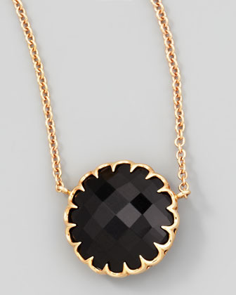 "Ivanka Trump Rose Gold Chain Black Onyx Pendant Necklace, 16""L"