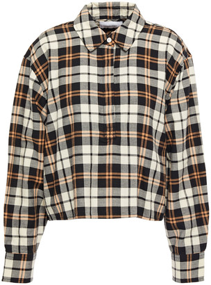 Current/Elliott The Mets Cropped Checked Cotton-flannel Shirt