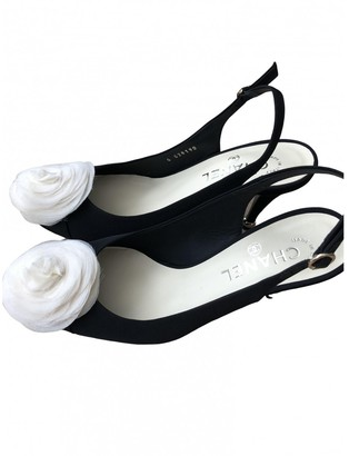 Chanel Slingback Black Cloth Heels