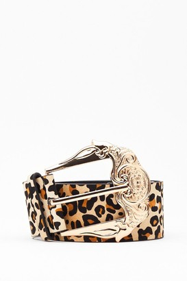Nasty Gal Womens That's Meow We Do It Leopard Ornate Belt - Natural