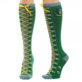 First_Look Harry Potter Series Slytherin Faux Lace Up Cuff Knee High Socks