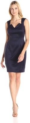 Connected Apparel Women's Cap Sleeve V Neck Dress with Lace Back