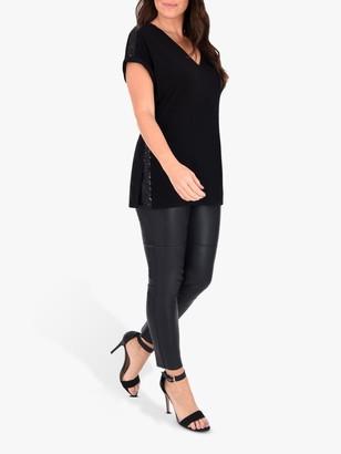 Live Unlimited Curve Sequin Top, Black