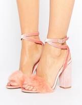 Truffle Collection Pink Fur Velvet Heel Sandal