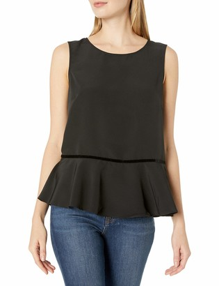 Lark & Ro Amazon Brand Women's Sleeveless Velvet Trim Peplum Top