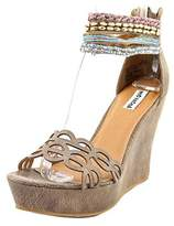 Not Rated Spring Fling Women Open Toe Canvas Brown Wedge Sandal.