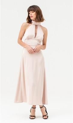 Linzi LIENA Cut-out Satin Halterneck Midi Dress Nude