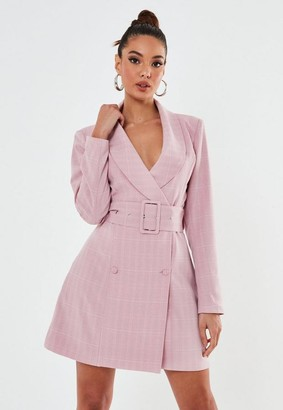 Missguided Pink Plaid Belted Blazer Dress
