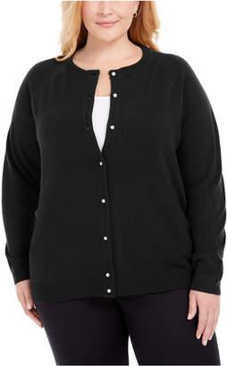 Karen Scott Plus Size Luxsoft Pearl Button Cardigan
