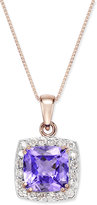 Macy's Tanzanite (2-5/8 ct. t.w.) and Diamond (1/3 ct. t.w.) Framed Pendant Necklace in 14k Rose Gold