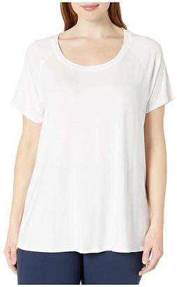 Jockey Active Plus Size Momentum Short Sleeve Tee (Pure White) Women's Clothing