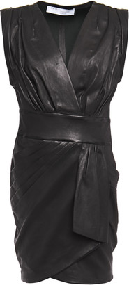 IRO Enticing Wrap-effect Pleated Leather Dress