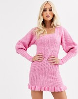 Asos Design DESIGN cable knit mini dress with volume sleeve