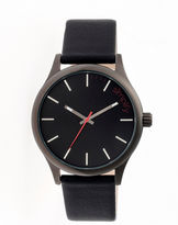 Simplify Mens The 2400 Gunmetal Dial Leather-Band Watch SIM2404