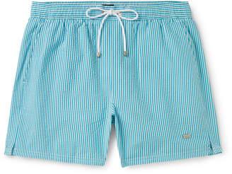 HUGO BOSS Mid-Length Striped Seersucker Swim Shorts