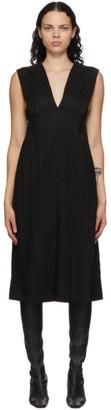 Mame Kurogouchi Black Ribbon Stripe V-Neck Dress