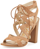 Sam Edelman Yardley Suede Lace-Up Sandal, Camel