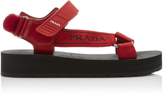 Prada Canvas-Jacquard And Rubber Sandals