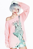 Wildfox Couture Statue of Liberty Lennon Sweater in Neon Sign