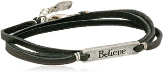 "Ettika Silver Colored Believe Statement Plate Black Leather Wrap Bracelet 21""+ 1"" Extender"
