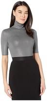 Lauren Ralph Lauren Petite Stretch Turtleneck Top (Lexington Grey Heather/Pewter Foil) Women's T Shirt
