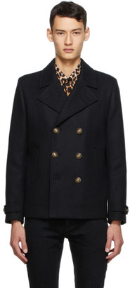 Saint Laurent Black Wool Double-Breasted Peacoat